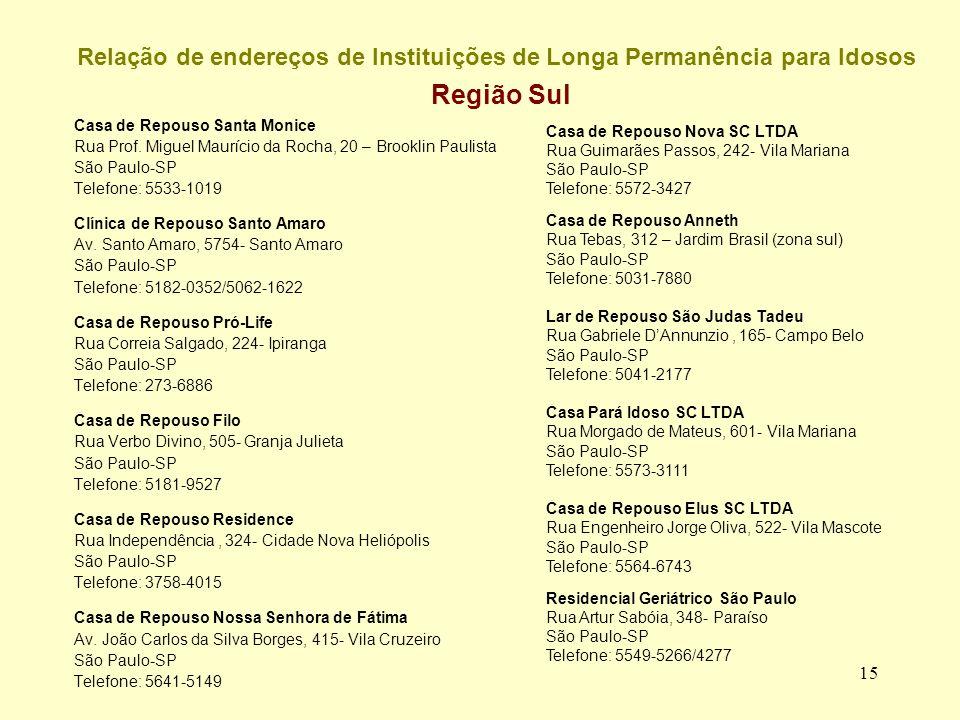 15 Relação de endereços de Instituições de Longa Permanência para Idosos Região Sul Casa de Repouso Santa Monice Rua Prof.