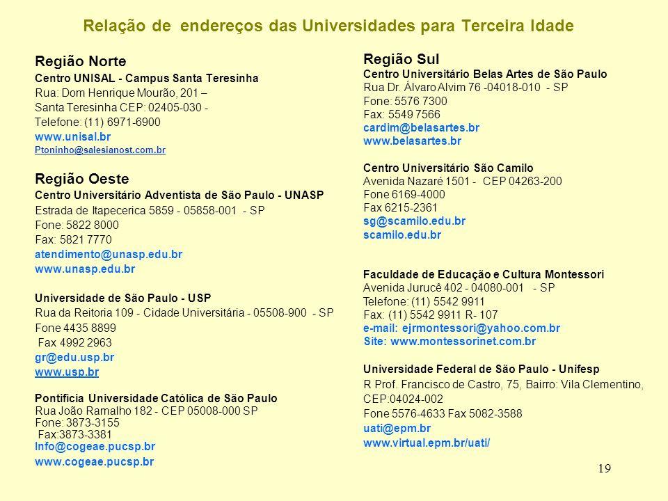 19 Relação de endereços das Universidades para Terceira Idade Região Norte Centro UNISAL - Campus Santa Teresinha Rua: Dom Henrique Mourão, 201 – Santa Teresinha CEP: 02405-030 - Telefone: (11) 6971-6900 www.unisal.br Ptoninho@salesianost.com.br Região Oeste Centro Universitário Adventista de São Paulo - UNASP Estrada de Itapecerica 5859 - 05858-001 - SP Fone: 5822 8000 Fax: 5821 7770 atendimento@unasp.edu.br www.unasp.edu.br Universidade de São Paulo - USP Rua da Reitoria 109 - Cidade Universitária - 05508-900 - SP Fone 4435 8899 Fax 4992 2963 gr@edu.usp.br www.usp.br Pontifícia Universidade Católica de São Paulo Rua João Ramalho 182 - CEP 05008-000 SP Fone: 3873-3155 Fax:3873-3381 Info@cogeae.pucsp.br www.cogeae.pucsp.br Região Sul Centro Universitário Belas Artes de São Paulo Rua Dr.