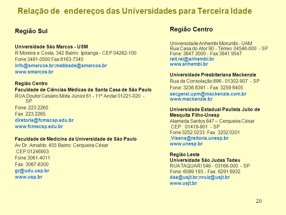 20 Relação de endereços das Universidades para Terceira Idade Região Sul Universidade São Marcos - USM R Moreira e Costa, 342 Bairro: Ipiranga - CEP:04262-100 Fone:3491-0500 Fax:6163-7345 info@smarcos.br;mabbade@smarcos.br www.smarcos.br Região Centro Faculdade de Ciências Médicas da Santa Casa de São Paulo RUA Doutor Cesário Mota Júnior 61 - 11º Andar 01221-020 - SP Fone: 223 2265 Fax: 223 2265 diretoria@fcmscsp.edu.br www.fcmscsp.edu.br Faculdade de Medicina da Universidade de São Paulo Av Dr.