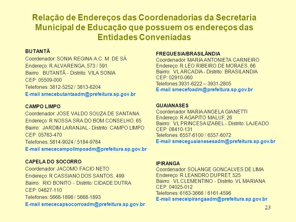 23 Relação de Endereços das Coordenadorias da Secretaria Municipal de Educação que possuem os endereços das Entidades Conveniadas BUTANTÃ Coordenador: SONIA REGINA A.C.