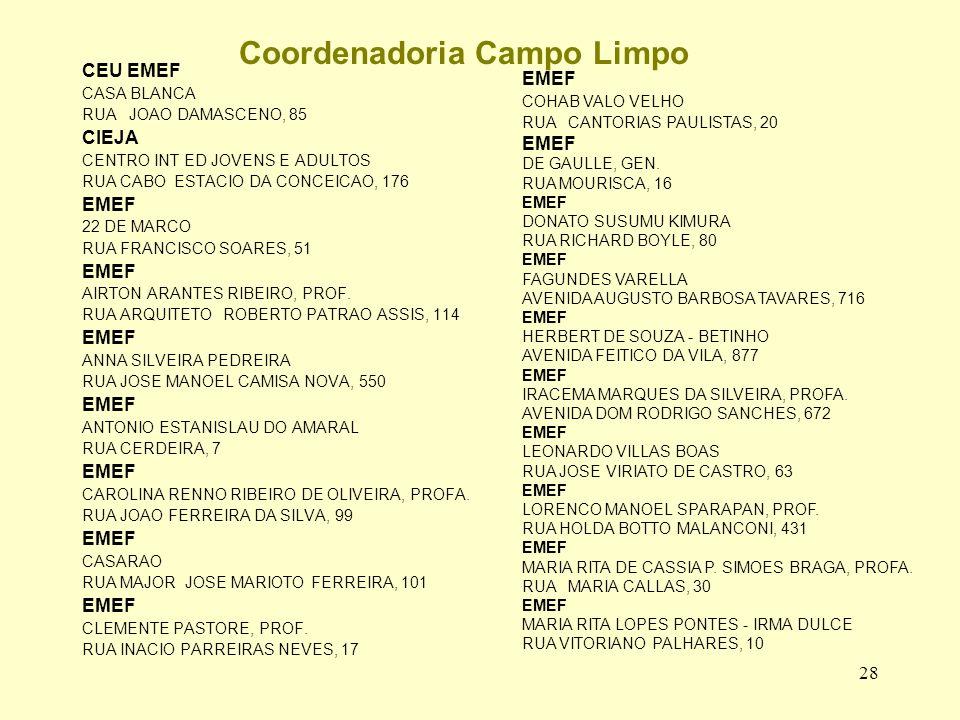 28 Coordenadoria Campo Limpo CEU EMEF CASA BLANCA RUA JOAO DAMASCENO, 85 CIEJA CENTRO INT ED JOVENS E ADULTOS RUA CABO ESTACIO DA CONCEICAO, 176 EMEF 22 DE MARCO RUA FRANCISCO SOARES, 51 EMEF AIRTON ARANTES RIBEIRO, PROF.