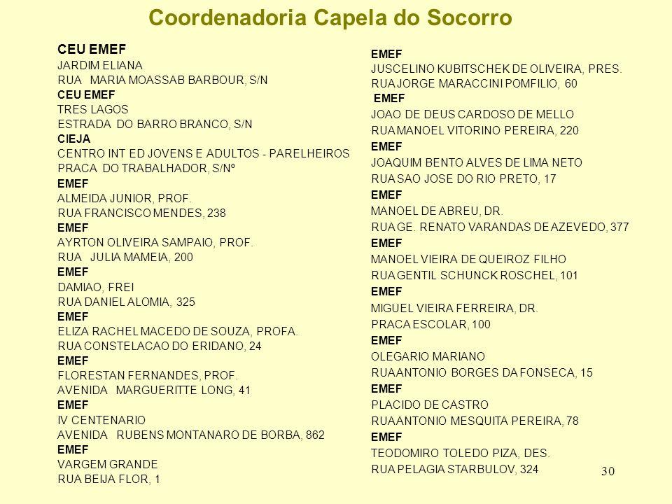 30 Coordenadoria Capela do Socorro CEU EMEF JARDIM ELIANA RUA MARIA MOASSAB BARBOUR, S/N CEU EMEF TRES LAGOS ESTRADA DO BARRO BRANCO, S/N CIEJA CENTRO INT ED JOVENS E ADULTOS - PARELHEIROS PRACA DO TRABALHADOR, S/Nº EMEF ALMEIDA JUNIOR, PROF.