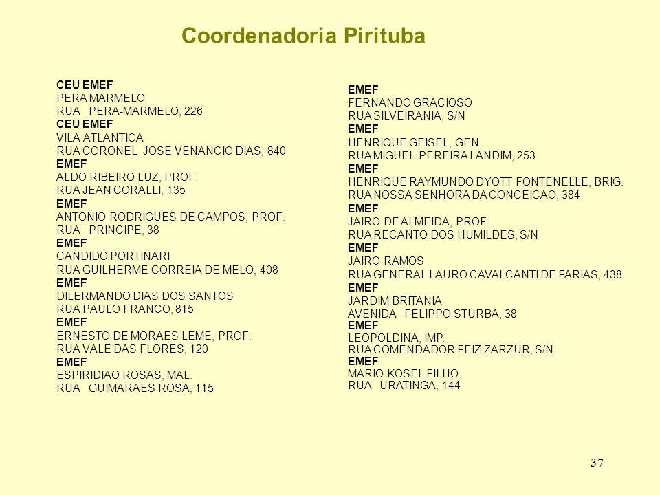 37 Coordenadoria Pirituba CEU EMEF PERA MARMELO RUA PERA-MARMELO, 226 CEU EMEF VILA ATLANTICA RUA CORONEL JOSE VENANCIO DIAS, 840 EMEF ALDO RIBEIRO LUZ, PROF.