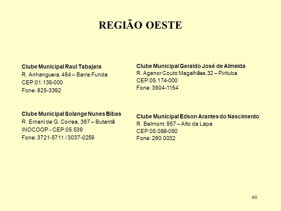 46 REGIÃO OESTE Clube Municipal Raul Tabajara R.