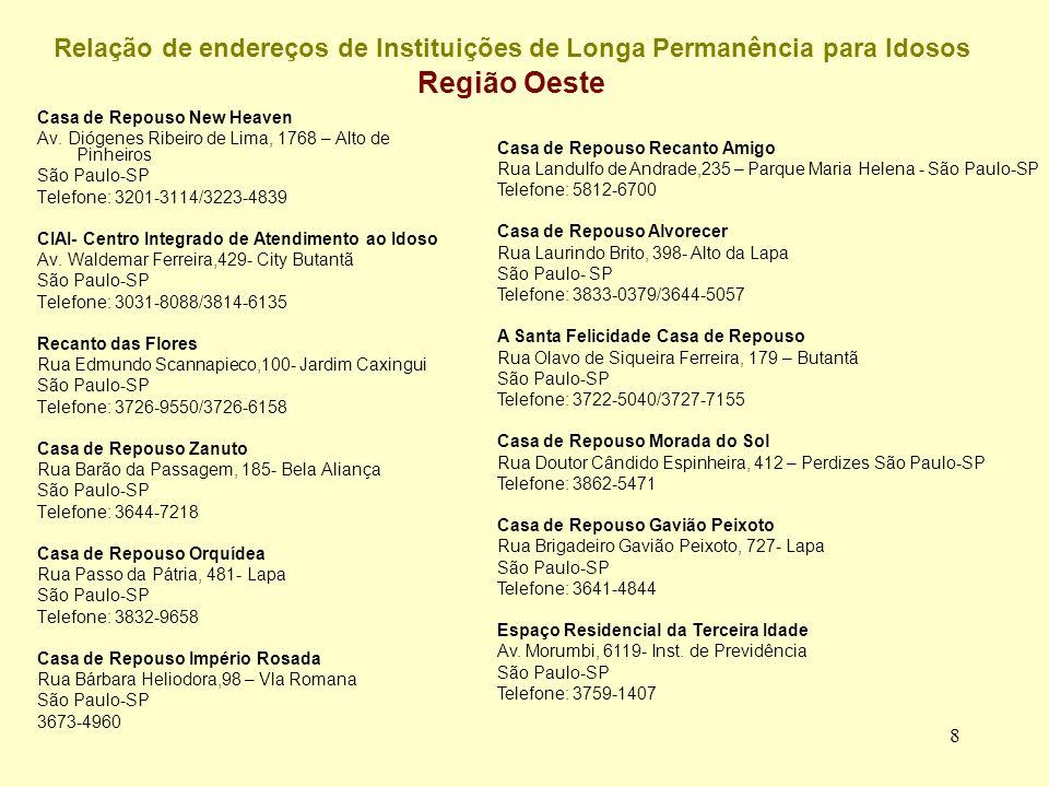 8 Relação de endereços de Instituições de Longa Permanência para Idosos Região Oeste Casa de Repouso New Heaven Av.