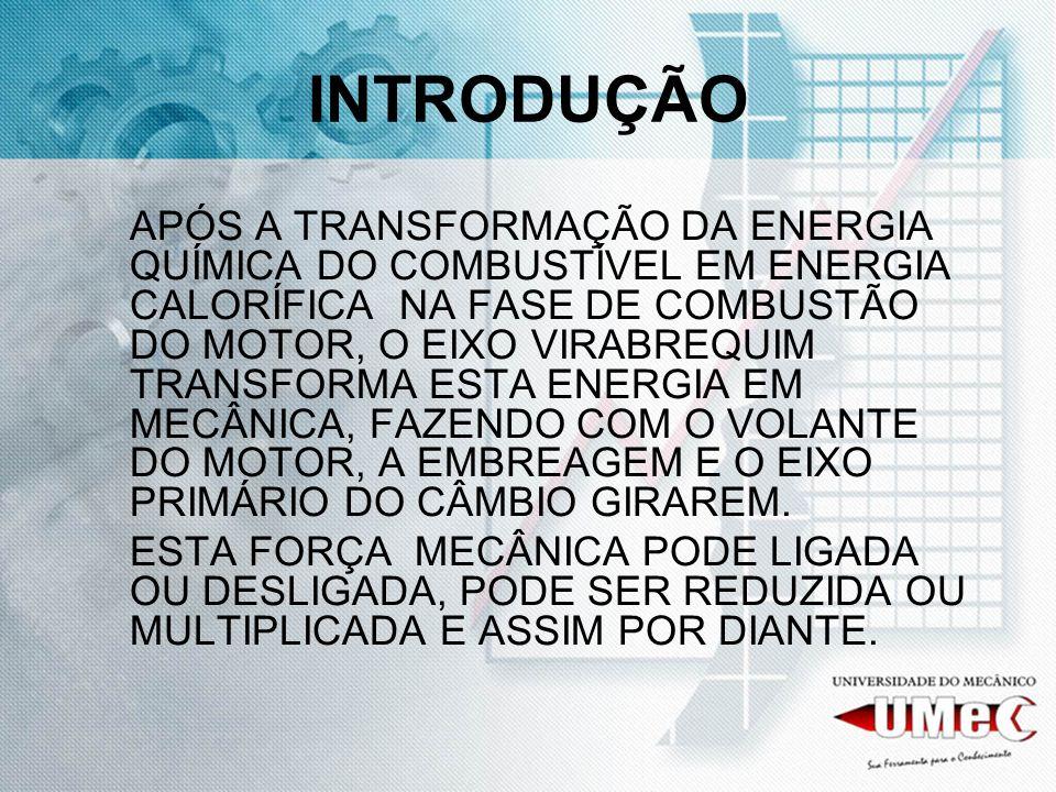 INTRODUÇÃO APÓS A TRANSFORMAÇÃO DA ENERGIA QUÍMICA DO COMBUSTÍVEL EM ENERGIA CALORÍFICA NA FASE DE COMBUSTÃO DO MOTOR, O EIXO VIRABREQUIM TRANSFORMA E