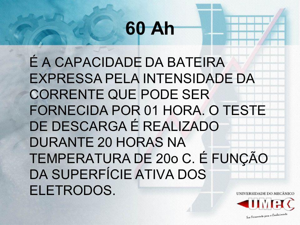 60 Ah É A CAPACIDADE DA BATEIRA EXPRESSA PELA INTENSIDADE DA CORRENTE QUE PODE SER FORNECIDA POR 01 HORA.