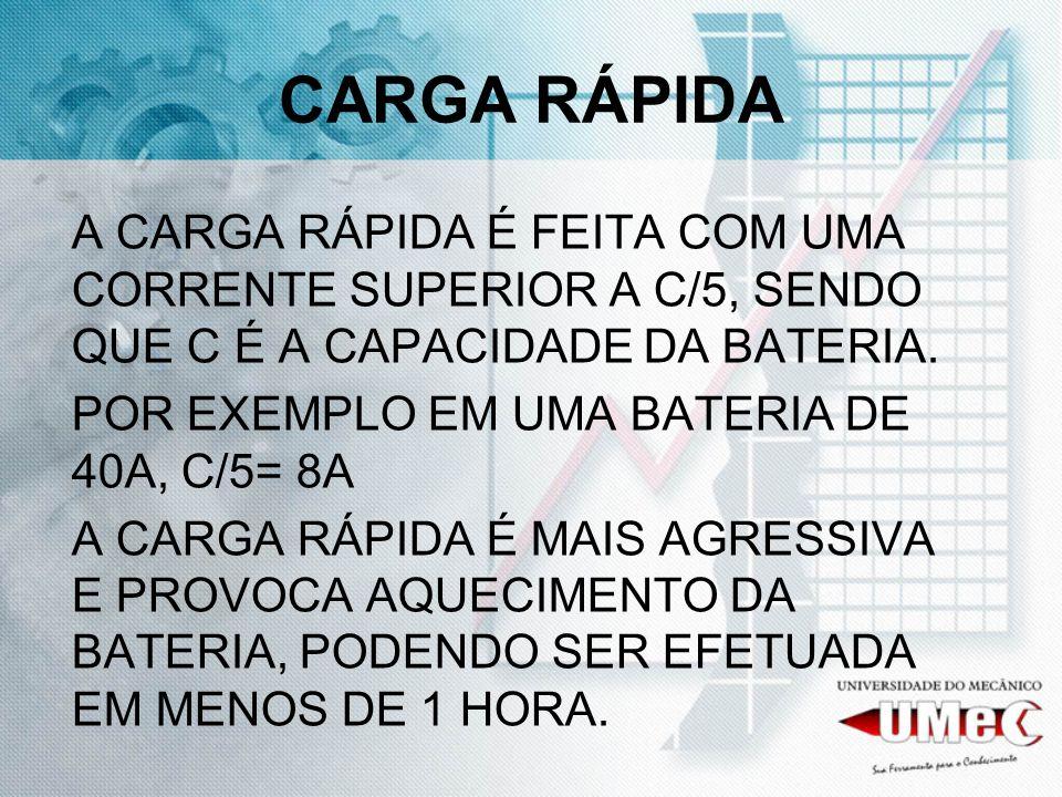 CARGA RÁPIDA A CARGA RÁPIDA É FEITA COM UMA CORRENTE SUPERIOR A C/5, SENDO QUE C É A CAPACIDADE DA BATERIA.