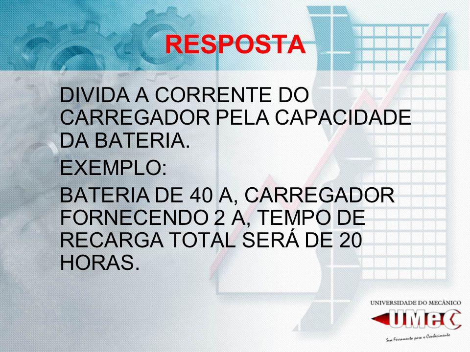 RESPOSTA DIVIDA A CORRENTE DO CARREGADOR PELA CAPACIDADE DA BATERIA.