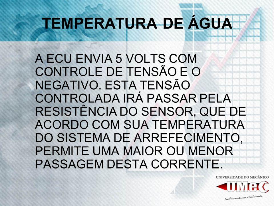 TEMPERATURA DE ÁGUA A ECU ENVIA 5 VOLTS COM CONTROLE DE TENSÃO E O NEGATIVO. ESTA TENSÃO CONTROLADA IRÁ PASSAR PELA RESISTÊNCIA DO SENSOR, QUE DE ACOR