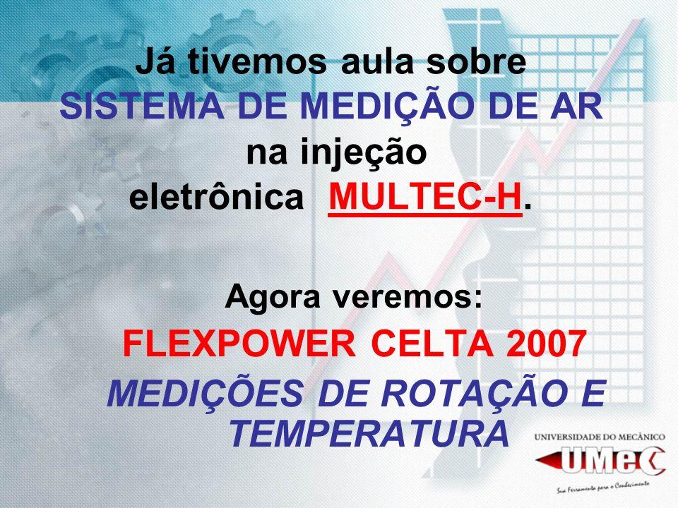 Já tivemos aula sobre SISTEMA DE MEDIÇÃO DE AR na injeção eletrônica MULTEC-H. Agora veremos: FLEXPOWER CELTA 2007 MEDIÇÕES DE ROTAÇÃO E TEMPERATURA