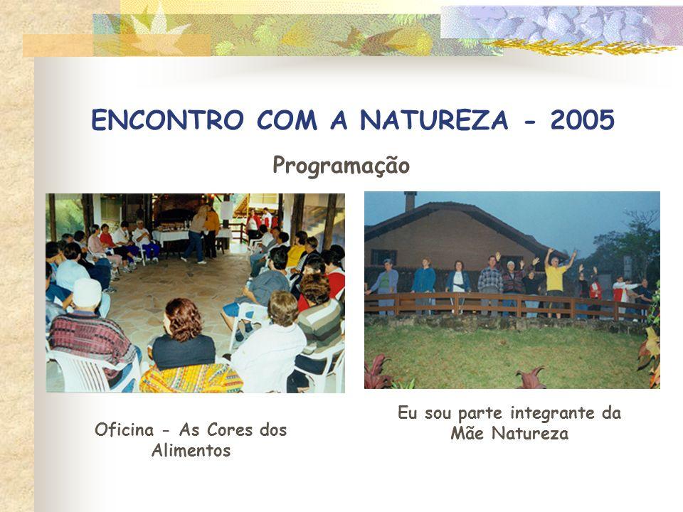 ENCONTRO COM A NATUREZA - 2005 Programação Oficina - As Cores dos Alimentos Eu sou parte integrante da Mãe Natureza