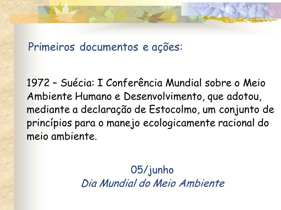 1972 – Suécia: I Conferência Mundial sobre o Meio Ambiente Humano e Desenvolvimento, que adotou, mediante a declaração de Estocolmo, um conjunto de princípios para o manejo ecologicamente racional do meio ambiente.