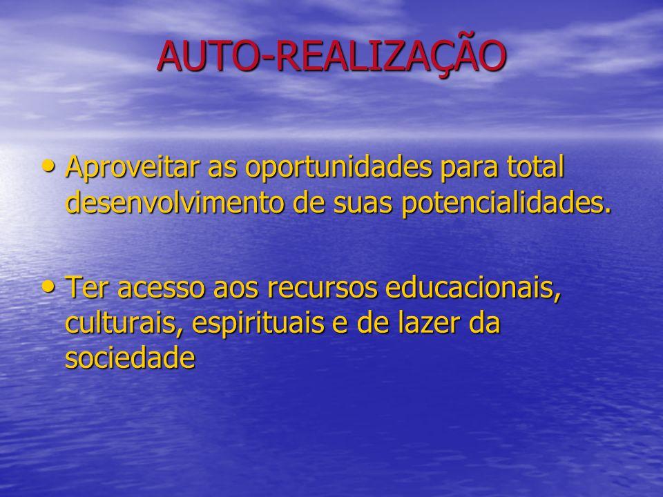 AUTO-REALIZAÇÃO Aproveitar as oportunidades para total desenvolvimento de suas potencialidades. Aproveitar as oportunidades para total desenvolvimento