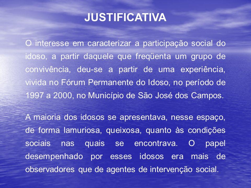 O interesse em caracterizar a participação social do idoso, a partir daquele que freqüenta um grupo de convivência, deu-se a partir de uma experiência