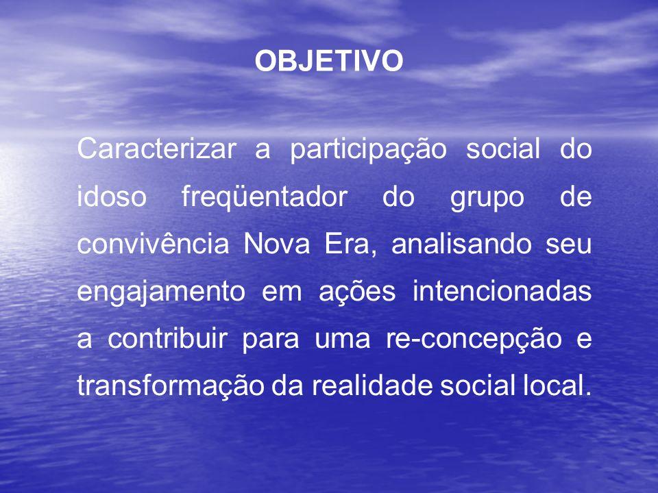 Caracterizar a participação social do idoso freqüentador do grupo de convivência Nova Era, analisando seu engajamento em ações intencionadas a contrib