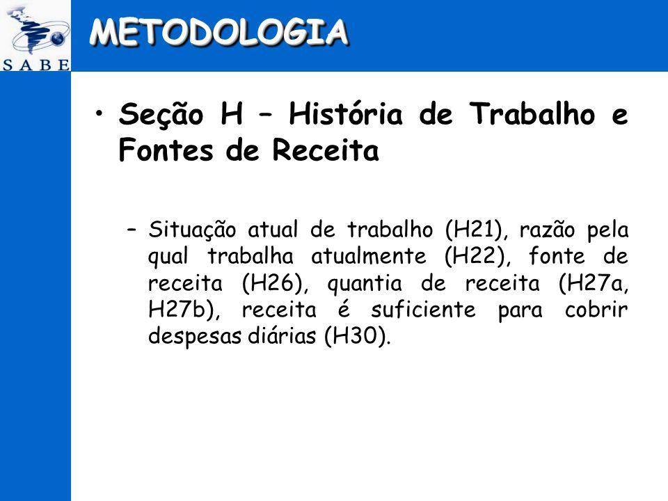 METODOLOGIAMETODOLOGIA Seção H – História de Trabalho e Fontes de Receita –Situação atual de trabalho (H21), razão pela qual trabalha atualmente (H22)