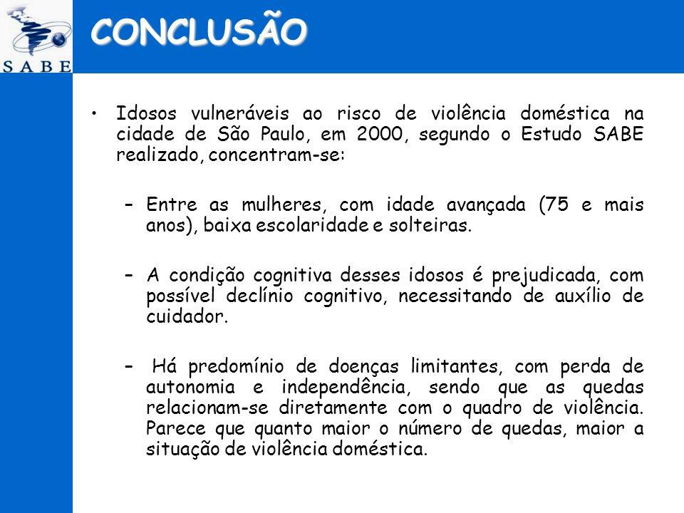 CONCLUSÃO Idosos vulneráveis ao risco de violência doméstica na cidade de São Paulo, em 2000, segundo o Estudo SABE realizado, concentram-se: –Entre a