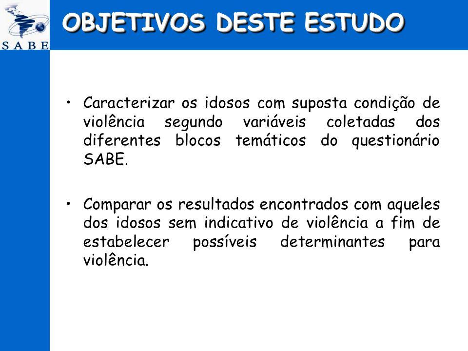 OBJETIVOS DESTE ESTUDO Caracterizar os idosos com suposta condição de violência segundo variáveis coletadas dos diferentes blocos temáticos do questio