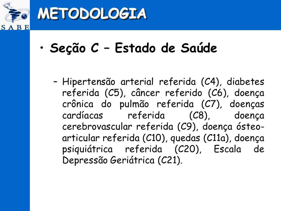 METODOLOGIAMETODOLOGIA Seção C – Estado de Saúde –Hipertensão arterial referida (C4), diabetes referida (C5), câncer referido (C6), doença crônica do