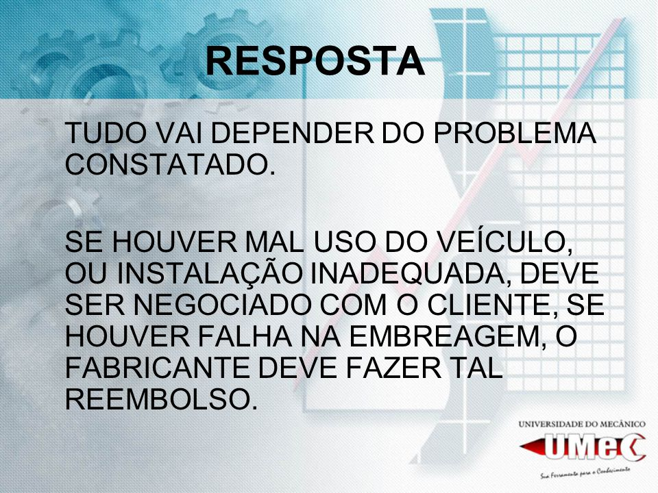 RESPOSTA TUDO VAI DEPENDER DO PROBLEMA CONSTATADO.