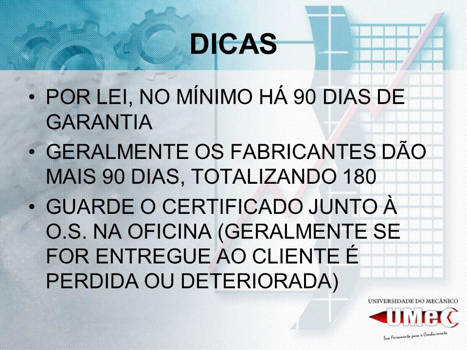 DICAS POR LEI, NO MÍNIMO HÁ 90 DIAS DE GARANTIA GERALMENTE OS FABRICANTES DÃO MAIS 90 DIAS, TOTALIZANDO 180 GUARDE O CERTIFICADO JUNTO À O.S.