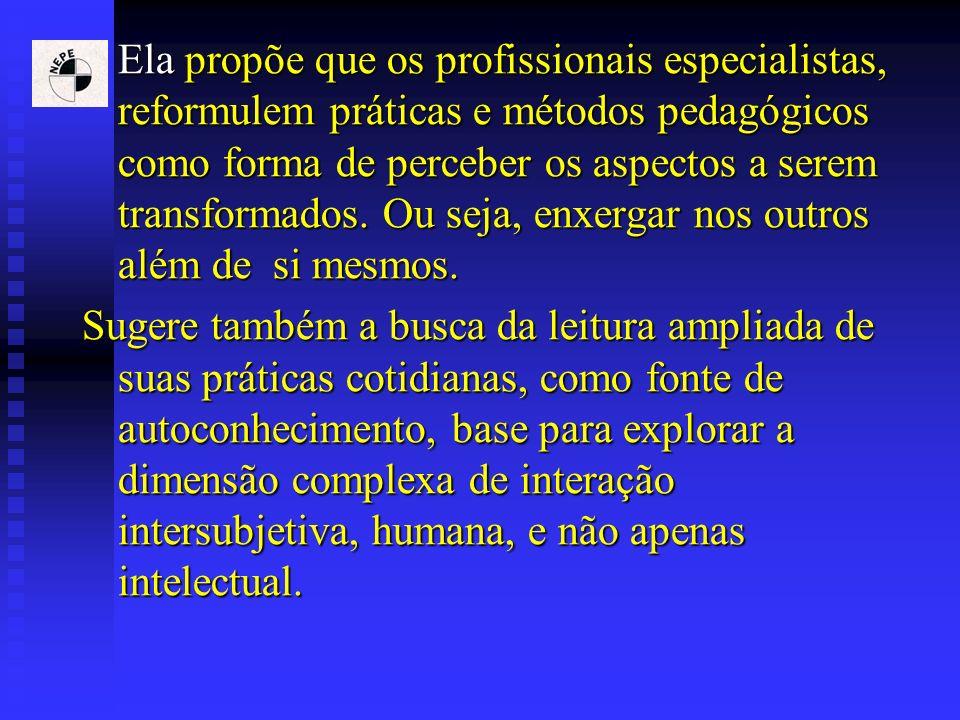 Ela propõe que os profissionais especialistas, reformulem práticas e métodos pedagógicos como forma de perceber os aspectos a serem transformados. Ou
