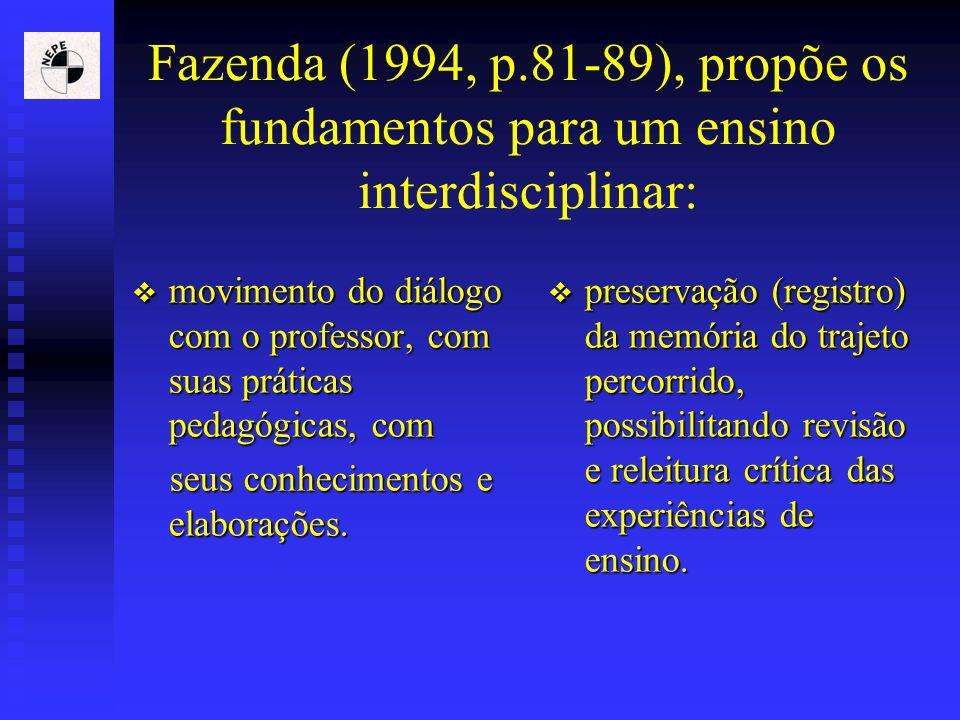 Fazenda (1994, p.81-89), propõe os fundamentos para um ensino interdisciplinar: movimento do diálogo com o professor, com suas práticas pedagógicas, c