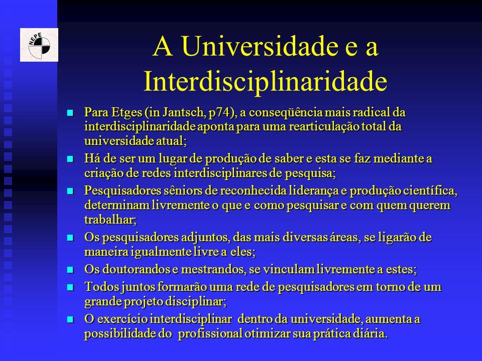 A Universidade e a Interdisciplinaridade Para Etges (in Jantsch, p74), a conseqüência mais radical da interdisciplinaridade aponta para uma rearticula