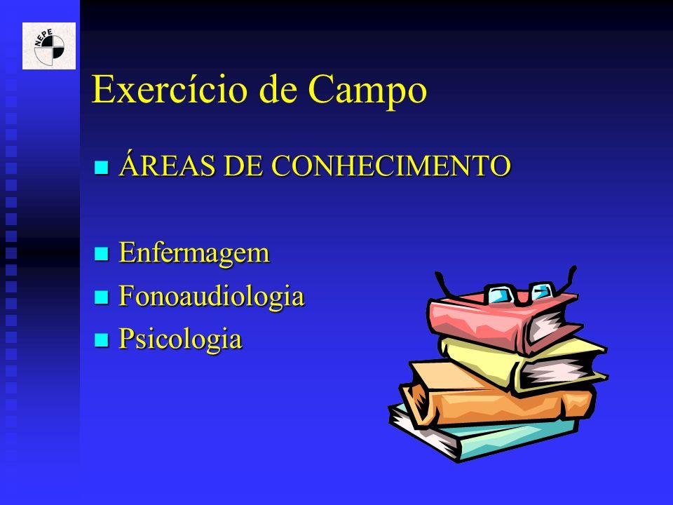 Exercício de Campo ÁREAS DE CONHECIMENTO ÁREAS DE CONHECIMENTO Enfermagem Enfermagem Fonoaudiologia Fonoaudiologia Psicologia Psicologia
