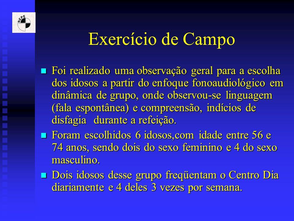 Exercício de Campo Foi realizado uma observação geral para a escolha dos idosos a partir do enfoque fonoaudiológico em dinâmica de grupo, onde observo