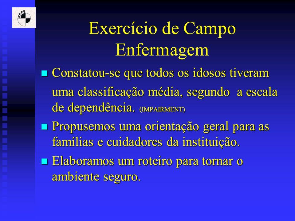Exercício de Campo Enfermagem Constatou-se que todos os idosos tiveram Constatou-se que todos os idosos tiveram uma classificação média, segundo a esc