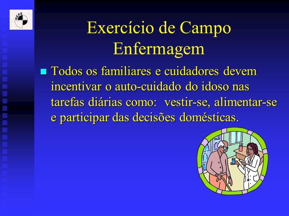 Exercício de Campo Enfermagem Todos os familiares e cuidadores devem incentivar o auto-cuidado do idoso nas tarefas diárias como: vestir-se, alimentar