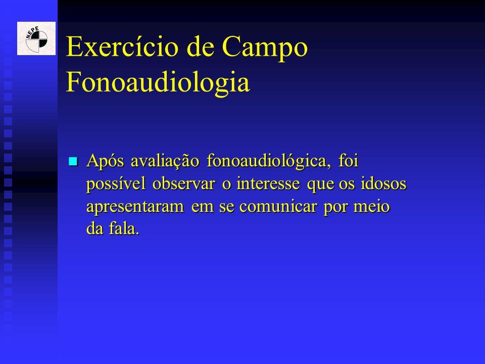 Exercício de Campo Fonoaudiologia Após avaliação fonoaudiológica, foi possível observar o interesse que os idosos apresentaram em se comunicar por mei