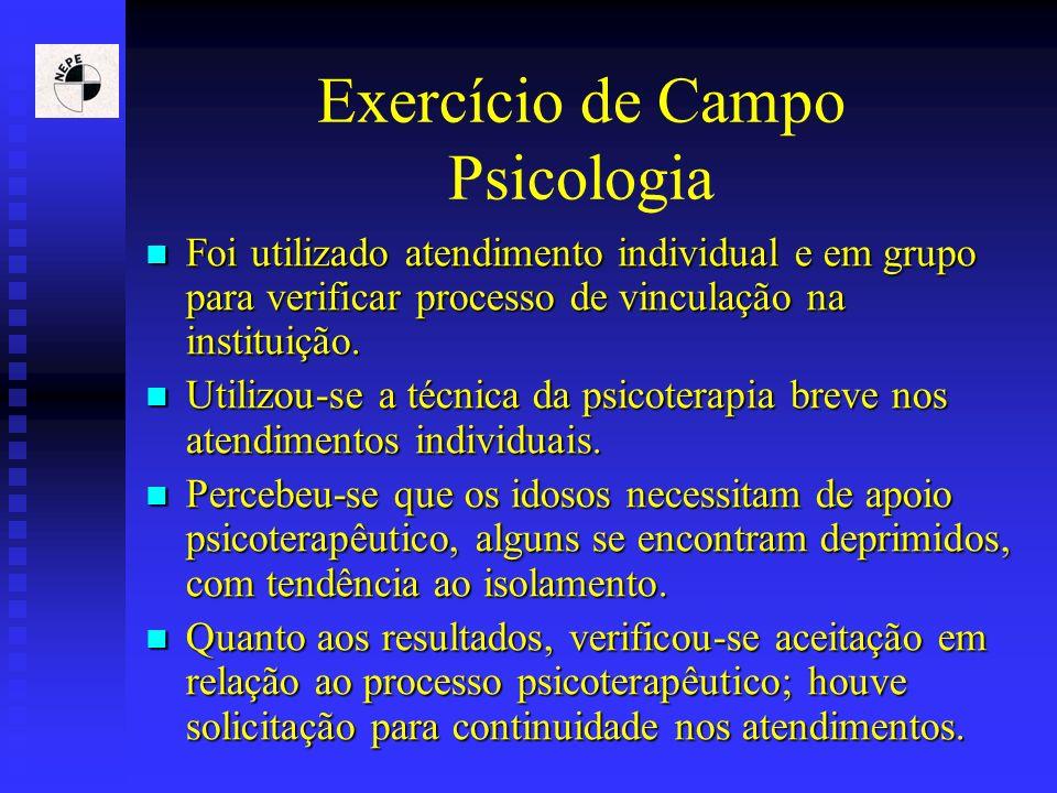 Exercício de Campo Psicologia Foi utilizado atendimento individual e em grupo para verificar processo de vinculação na instituição. Foi utilizado aten