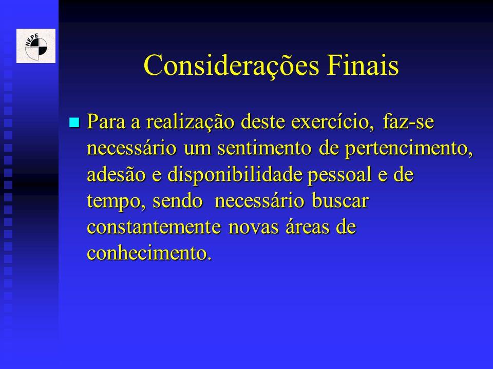 Considerações Finais Para a realização deste exercício, faz-se necessário um sentimento de pertencimento, adesão e disponibilidade pessoal e de tempo,