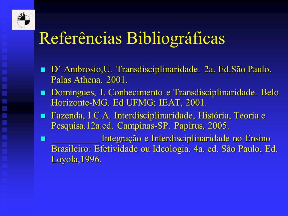 Referências Bibliográficas D Ambrosio,U. Transdisciplinaridade. 2a. Ed.São Paulo. Palas Athena. 2001. D Ambrosio,U. Transdisciplinaridade. 2a. Ed.São