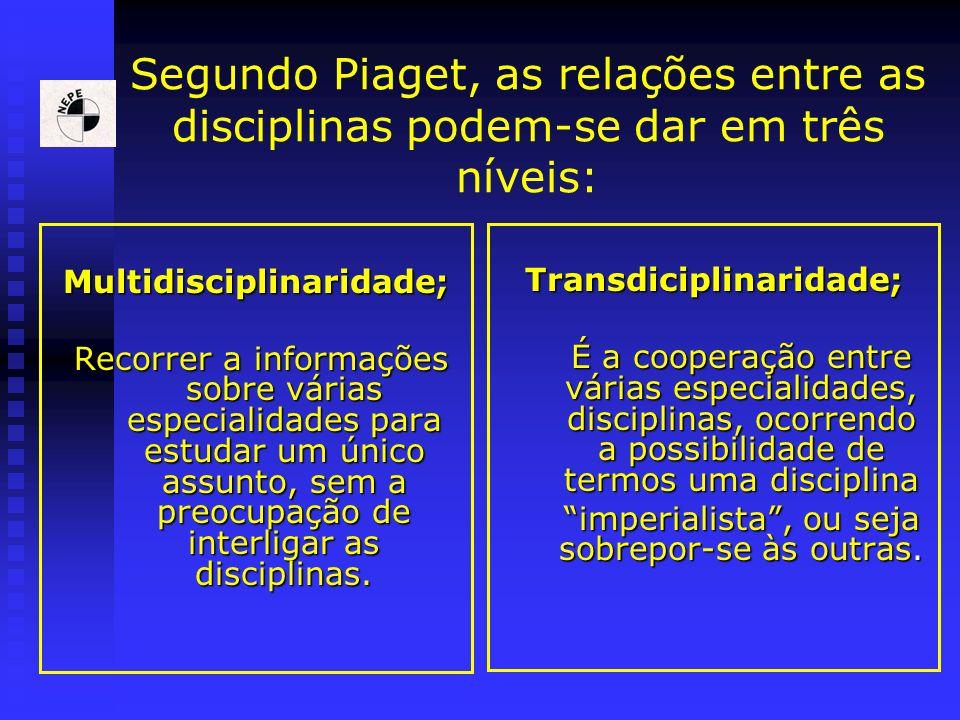 Segundo Piaget, as relações entre as disciplinas podem-se dar em três níveis: Multidisciplinaridade; Recorrer a informações sobre várias especialidade