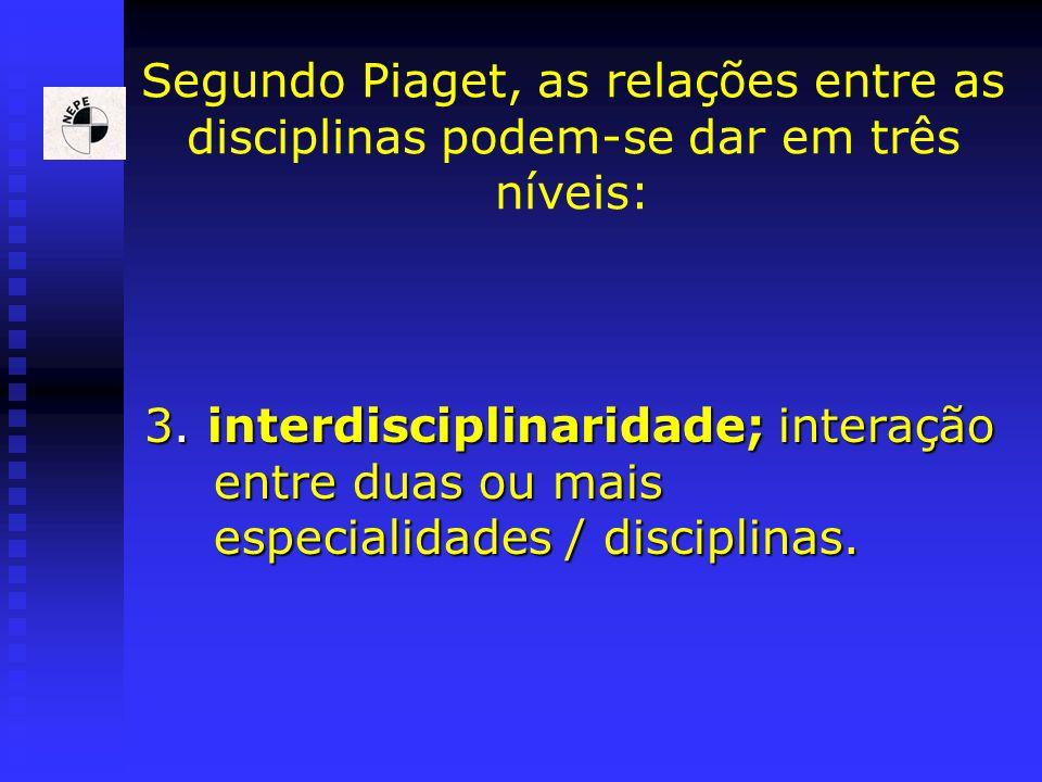 Segundo Piaget, as relações entre as disciplinas podem-se dar em três níveis: 3. interdisciplinaridade; interação entre duas ou mais especialidades /