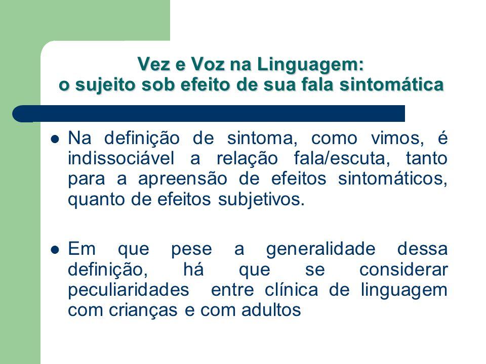 Vez e Voz na Linguagem: o sujeito sob efeito de sua fala sintomática Na definição de sintoma, como vimos, é indissociável a relação fala/escuta, tanto