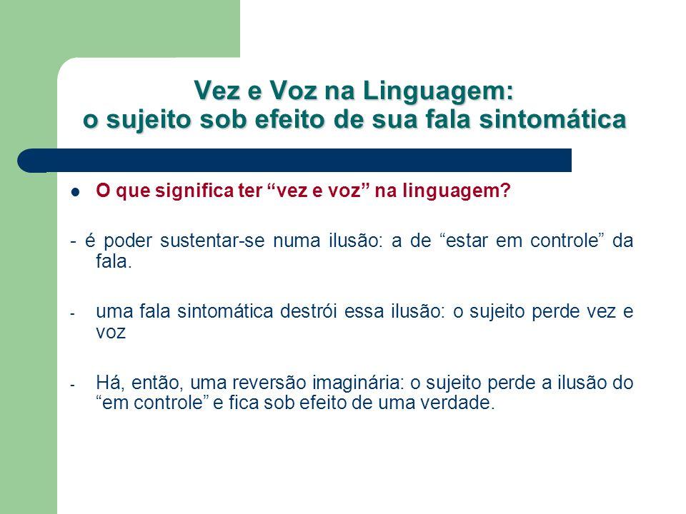 Vez e Voz na Linguagem: o sujeito sob efeito de sua fala sintomática O que significa ter vez e voz na linguagem? - é poder sustentar-se numa ilusão: a