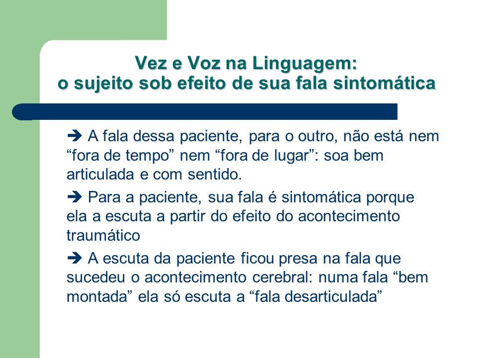 Vez e Voz na Linguagem: o sujeito sob efeito de sua fala sintomática A fala dessa paciente, para o outro, não está nem fora de tempo nem fora de lugar