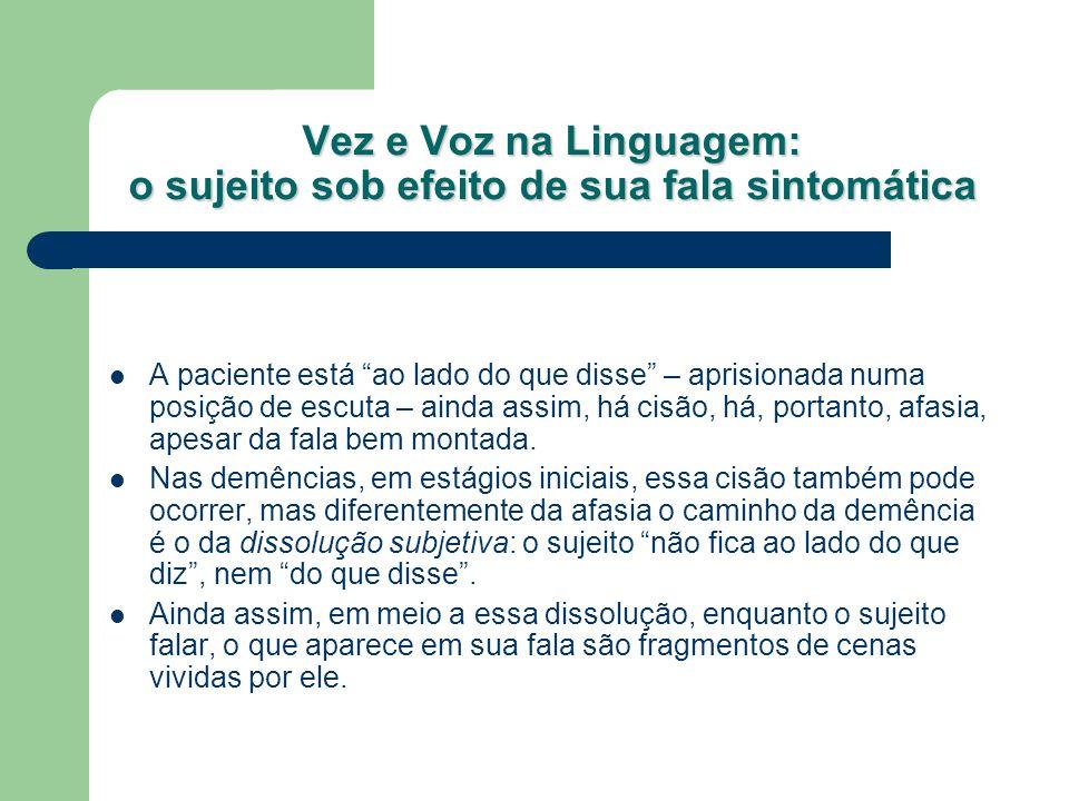 Vez e Voz na Linguagem: o sujeito sob efeito de sua fala sintomática A paciente está ao lado do que disse – aprisionada numa posição de escuta – ainda