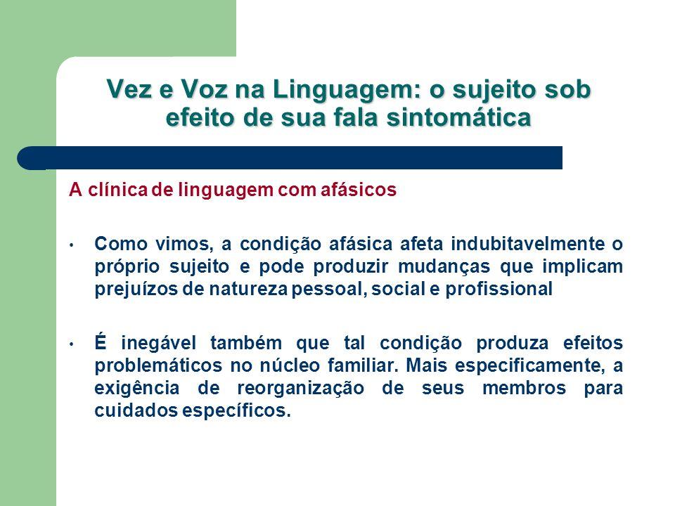 Vez e Voz na Linguagem: o sujeito sob efeito de sua fala sintomática A clínica de linguagem com afásicos Como vimos, a condição afásica afeta indubita