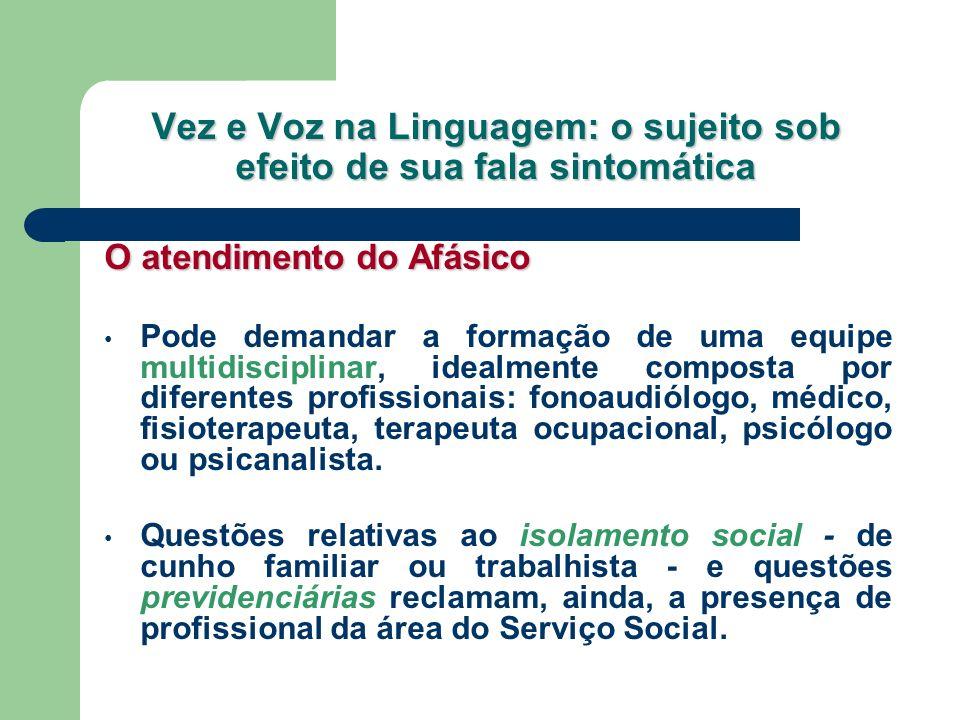 Vez e Voz na Linguagem: o sujeito sob efeito de sua fala sintomática O atendimento do Afásico Pode demandar a formação de uma equipe multidisciplinar,
