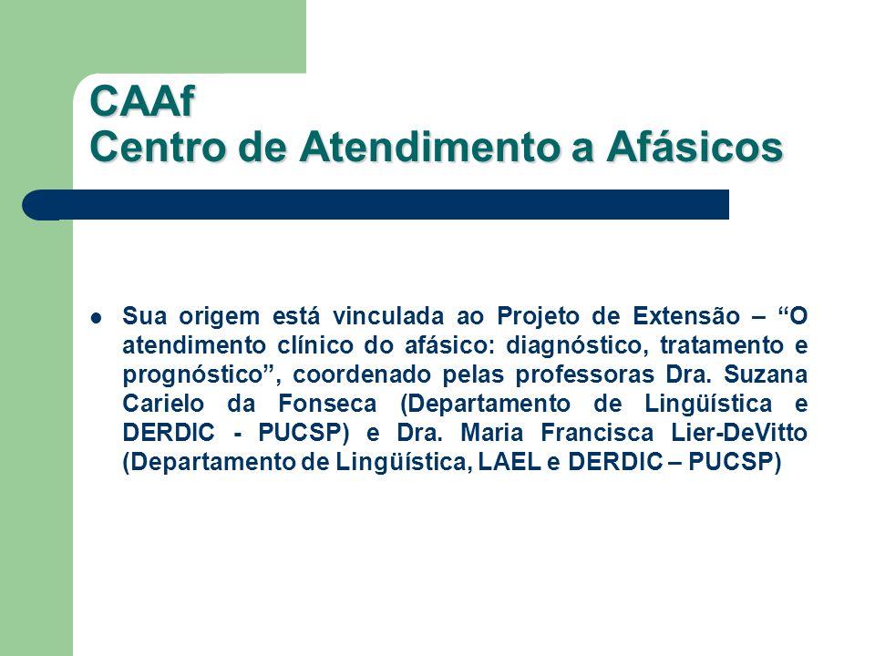 CAAf Centro de Atendimento a Afásicos Sua origem está vinculada ao Projeto de Extensão – O atendimento clínico do afásico: diagnóstico, tratamento e p