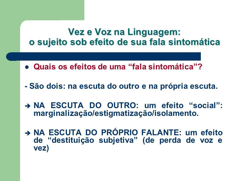 Vez e Voz na Linguagem: o sujeito sob efeito de sua fala sintomática Na definição de sintoma, como vimos, é indissociável a relação fala/escuta, tanto para a apreensão de efeitos sintomáticos, quanto de efeitos subjetivos.
