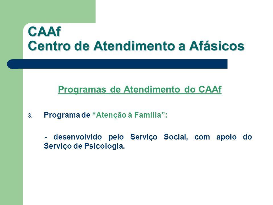 Programas de Atendimento do CAAf 3. Programa de Atenção à Família: - desenvolvido pelo Serviço Social, com apoio do Serviço de Psicologia. CAAf Centro