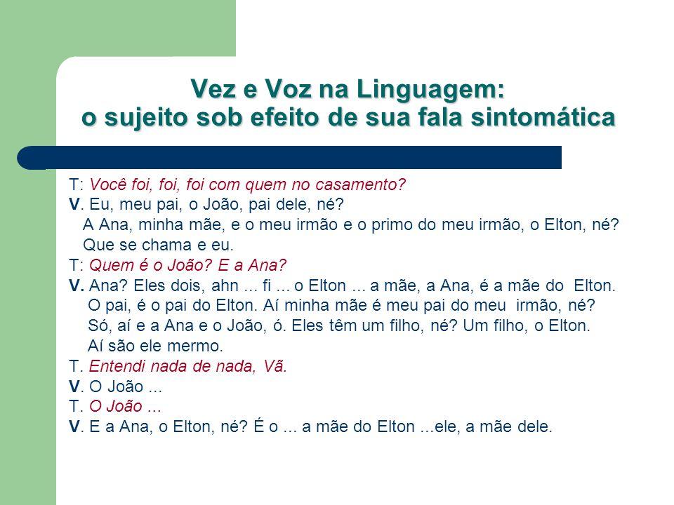 Vez e Voz na Linguagem: o sujeito sob efeito de sua fala sintomática Segmento de sessão fonoaudiológica com uma menina de 8 anos: T.