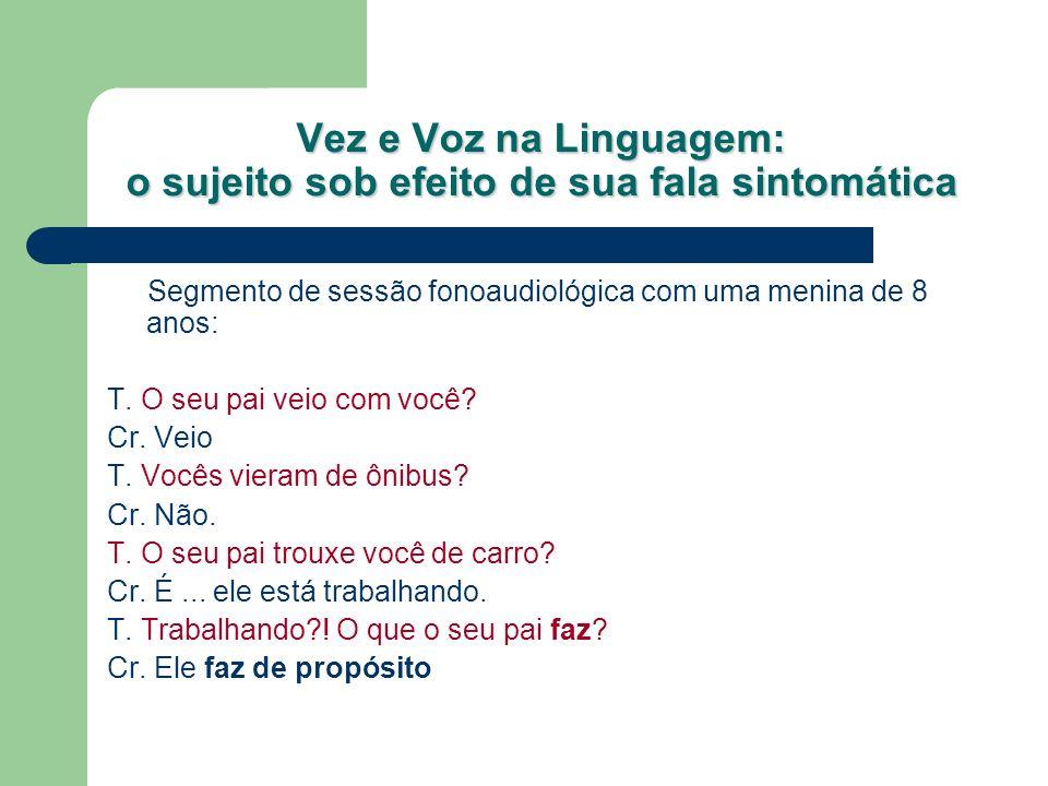 Vez e Voz na Linguagem: o sujeito sob efeito de sua fala sintomática T.
